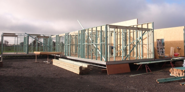 Prefabricated building in progress